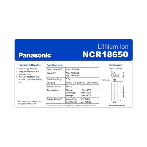 باتری لیتیوم یون 3.7v سایز 18650 2900mAh مارک Panasonic