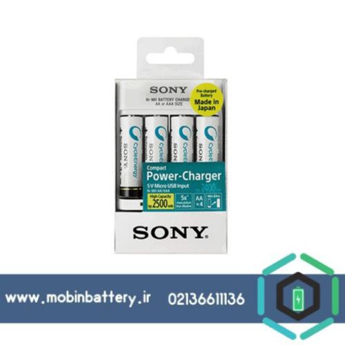 شارژر باتری سونی مدل BCG-34HHU4K به همراه 4 عددی باتری قلمی