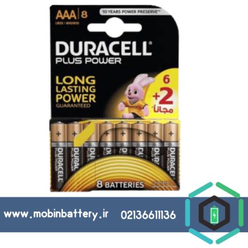 باتری نیم قلمی دوراسل مدل Plus Power بسته 6 + 2 عددی